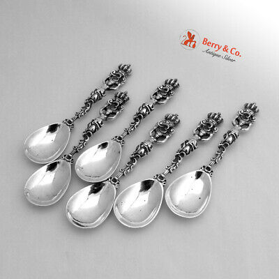 Figural Egg Spoons 6 Wolf Knell Hanau Sterling Silver 1890