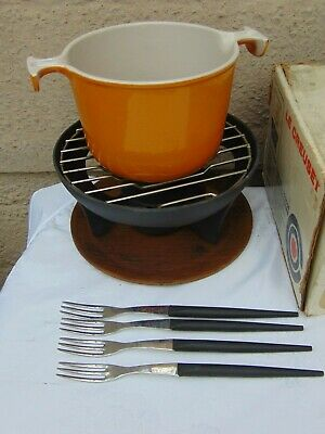 Vintage Le Creuset Fondue Set Bourguignonne 6450 Volcanic Orange Boxed