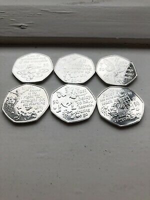 Uncirculated 2019 Peter Pan 50p Full Set X6 Isle Of Man