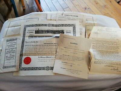 RARE LOT JIMWELLS OIL FIELDS TEXAS USA 1920s OIL SHARE CERTIFICATE LETTERS MAPS
