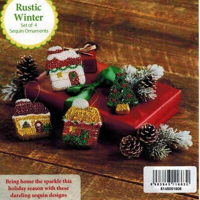 Rustic Winter Bead Sequin Ornament KIT Christmas Crafts Cottage Tree Herrschners
