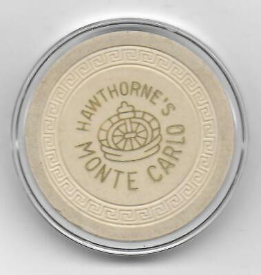 Obsolete White Roulette Casino Chip From MONTE CARLO-Hawthorne, Nv.-CG073914