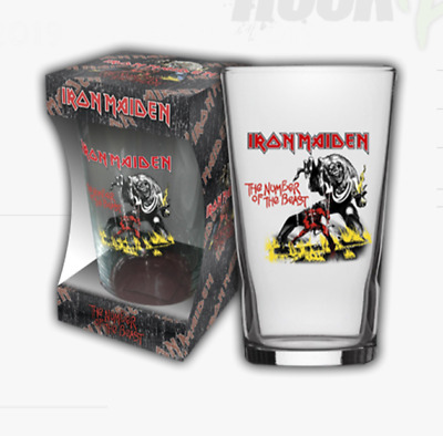 Iron Maiden - Number Of The Beast - Pint Glass - Brand New - Music Bgirm027