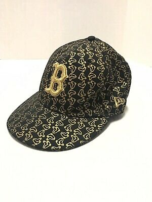 Boston Red Sox New Era 59fifty Black Gold Fitted Hat 6-7/8 Rare Embroidered MLB