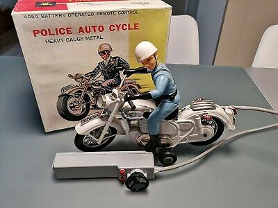 SELTENER BATTERIEAUTOMAT Vintage Original Tin Motorcycle Toy Bandai Police Auto