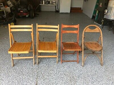 4 Vintage Antique Wooden Folding Chairs Wood Slat Seats 2 Alike 2 Different