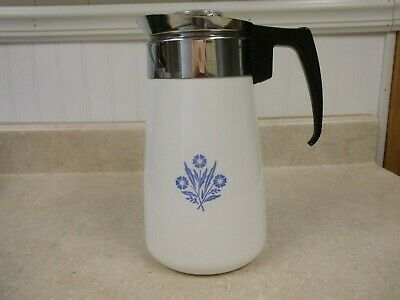 VINTAGE Corning Ware 9 Cup Stove Top Percolator Coffee Pot Cornflower Blue