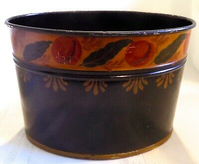 ANTIQUE Country PRIMITIVE Tole TOLEWARE Oval Shaped HAND PAINTED Can PLANTER