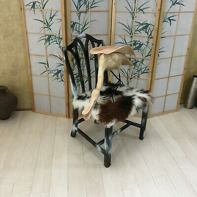 Upcycle Vintage Chair Painted Black and White with Faux Fur Seat, Shabby Chic
