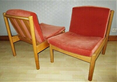 Pair of Mid Century Ercol Modular Lounge Chairs. Model 747