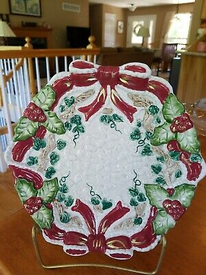 "Omnibus by Fitz and Floyd 8.5"" Christmas Holiday Red Ribbon Holly Embossed Plate"