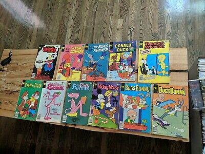 Whitman 11 Comic Lot, Bugs Bunny, Mickey Mouse, Pink Panther, Road Runner,...