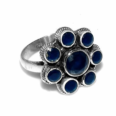 Faceted-Lapis Lazuli Solid 925 Sterling Silver Ring  Jewelry Size-7.75 FSR-1023