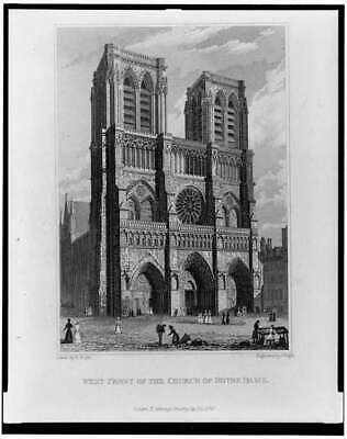 West front of Church of Notre Dame,Paris,France,Cathedral,September 1828