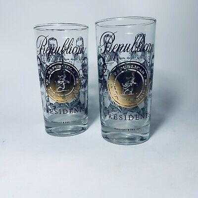 Republican Presidents Glasses Golden Seal Rnc National Convention 1966