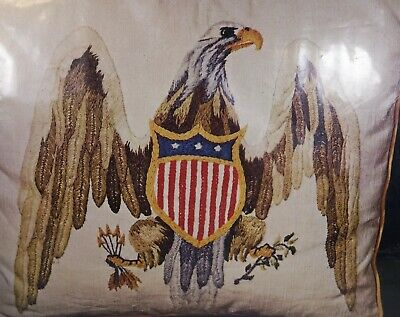 Vintage American Eagle Crewel Kit Sewing Crafts Embroidery Patriotic Pillow Rare
