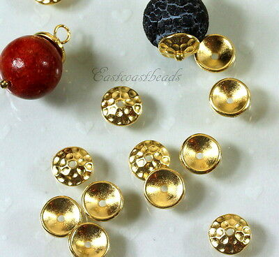 TierraCast Hammered Bead Caps, 8mm., Gold Plated, 10 Pieces, 6225