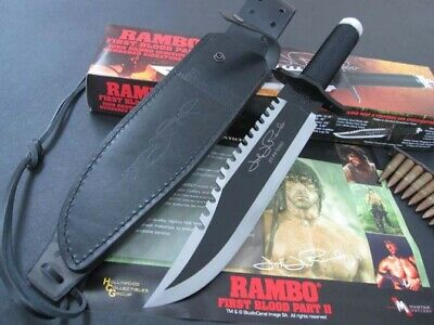 RAMBO FIRST BLOOD PART II  Licensed MANUAL SIGN SHARP SURVIVAL HUNTING KNIFE
