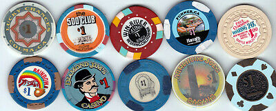Ten Different $1 California Card Room And Casino Chips-Various Locations