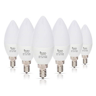 6 LED Candelabra Base Chandelier Bulb Light Bulbs E12 Daylight White 7W 60 Watt
