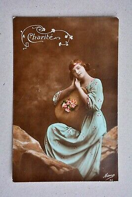 Vintage/Antique Postcard, French Charite Love Heart Glamour Flapper Girl 1920s?
