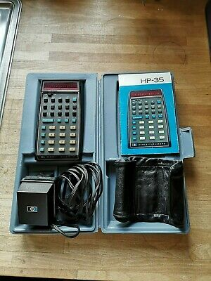 Vintage HP-35 LED Scientific Calculator with case, charger,pouch,papers from1973