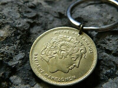 Alexander the Great Coin Keychain, 1992 Greek Coin Keyring #26