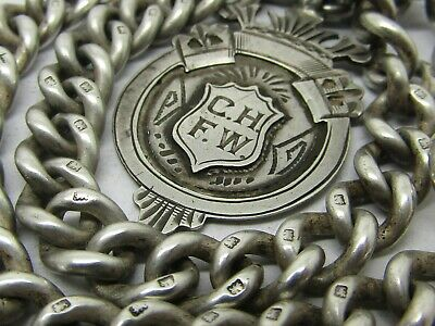 Sterling Silver Double Albert Chain 56.4 Grams, No Reserve