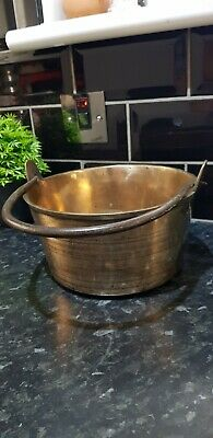 Vintage Large Heavy Solid Brass Jam Preserve Pan Pot or use as a Planter