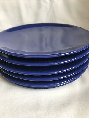 Set Of 6 Ikea Salad Dessert Or Luncheon Plates Royal Blue 7 3/4 Inches