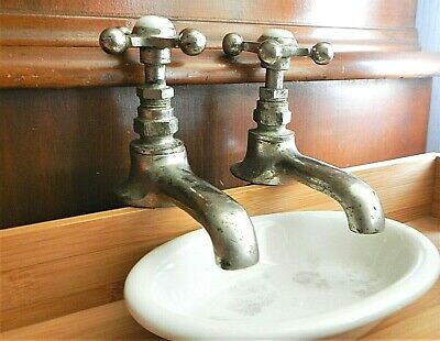 Antique Salvage -Pair Hot Cold Sink Faucets Nickel Brass Porcelain -Haydenville