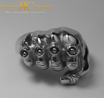 Men's 925 Solid Sterling Silver Fist Ring & Knuckle Duster With Ball Bearings