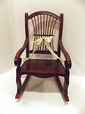 Vintage Wooden Rocking Chair For Dolls & Plush Toys To 20 Inch's Tall