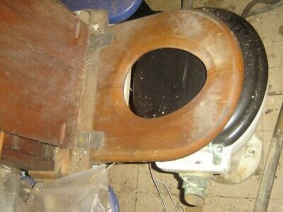 VINTAGE WOOD TOILET SEAT and WATER CLOSET not used since the 1920's