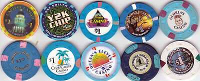 Ten Different $1 California Card Room Casino Chips-Various Locations