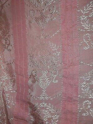 Vintage pink damask tablecloth, 73 X 79 inches lightweight + 2 table runners