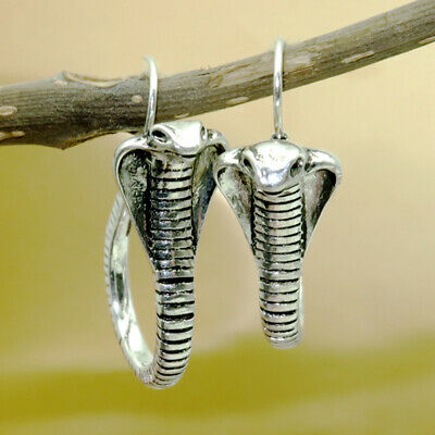 Vintage 925 Silver Ear Hook Snake Animal Dangle Wedding Earrings Gift Engagement