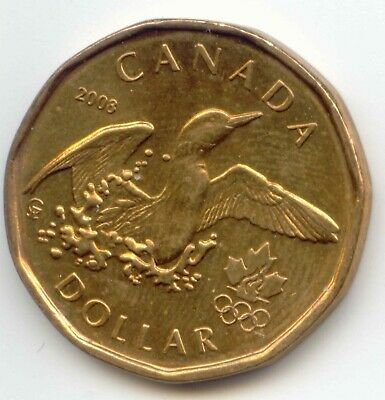 Canada 2008 Olympics Lucky Loonie Canadian One Dollar $1 EXACT COIN SHOWN