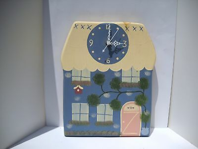 Vintage, From Estate, Wooden Keepsake Clock Handmade And Painted In Mexico