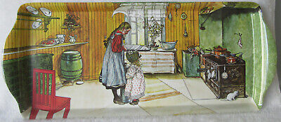 "Scandinavian Swedish Carl Larsson Sandwich Almond Cake Tray ""The Kitchen"" 15X6½"""