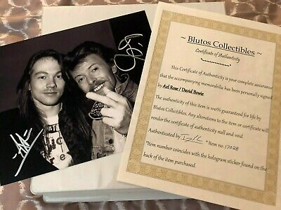 David Bowie and Axl Rose autographed 8x10 photo signed, authentic, singer COA