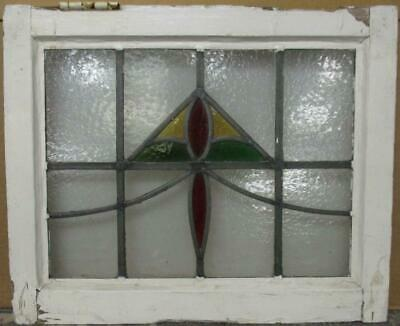 "OLD ENGLISH LEADED STAINED GLASS WINDOW Abstract Geometric Sweep 20.5"" x 16.75"""