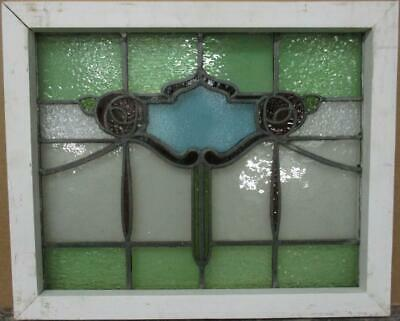 "MIDSIZE OLD ENGLISH LEADED STAINED GLASS WINDOW Floral Swag & Drops 23"" x 19"""