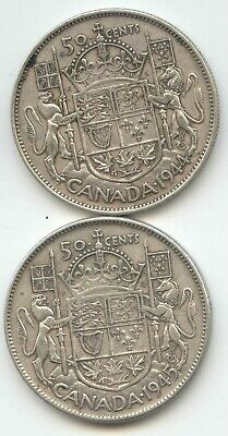 Canada 1944 & 1945 Silver 50 Cent Pieces Canadian Half Dollars 50c EXACT SET