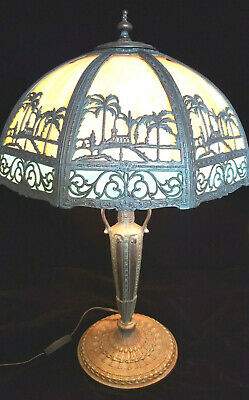 Stunning slag glass lamp with scene