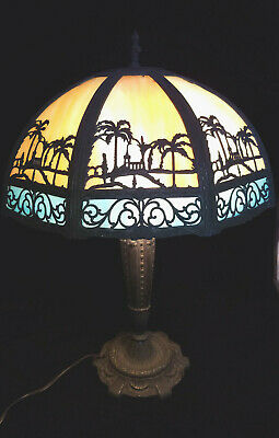 Beautiful slag glass lamp with scene