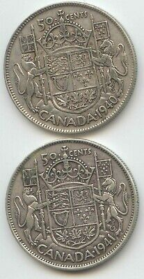 Canada 1940 & 1941 Silver 50 Cent Pieces Canadian Half Dollars 50c EXACT SET