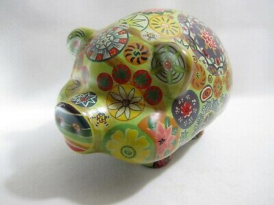 Vintage Mexican Folk Art Painted Pig Pottery Psychedelic Hippie Piggy Bank