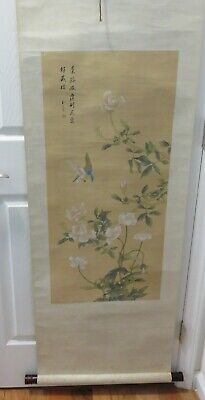 "Large 71"" Long Vintage Japanese Handpainted Scroll"