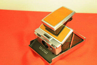 Polaroid Original Model SX-70  light Brown leather and chrome, with case